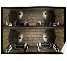 robot heads boxed for shipping Poster