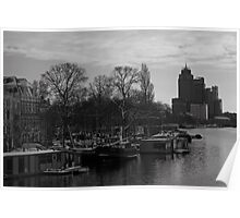 House boats along the Amstel River. Poster