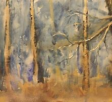 Forest in Blue and gold by Tracy Manning