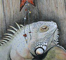 King Indigo - green iguana by Julie Howell