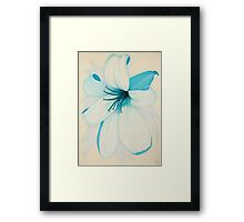 Lilipol Bright Turquoise Blue Lily Flower Painting Framed Print