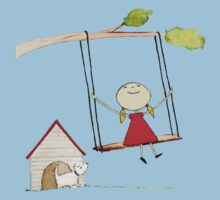 Little girl swinging with pup gazing T-Shirt