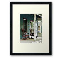 Wooden Rocking Chairs on Porch Framed Print