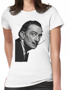 Salvador Dali Black Portrait Womens Fitted T-Shirt