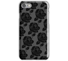 Black Rose Pattern on Grey iPhone Case/Skin
