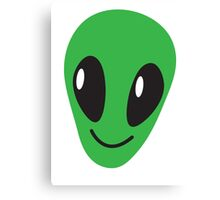 Alien green man face smiling Canvas Print