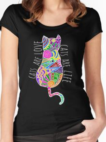 cats are love, cats are life (colours) Women's Fitted Scoop T-Shirt