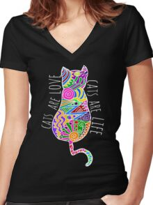 cats are love, cats are life (colours) Women's Fitted V-Neck T-Shirt
