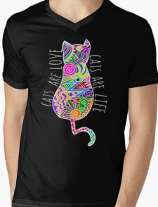 cats are love, cats are life (colours) Mens V-Neck T-Shirt