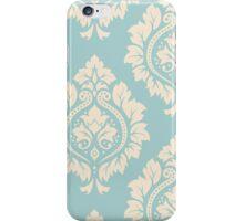 Decorative Damask Art I Cream on Blue iPhone Case/Skin