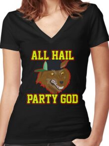 All Hail Party God - Adventure TIme Women's Fitted V-Neck T-Shirt