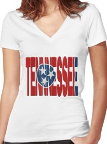 Tennessee flag Women's Fitted V-Neck T-Shirt