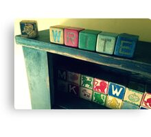 Antique children's blocks, WRITE Canvas Print