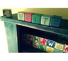Antique children's blocks, WRITE Photographic Print