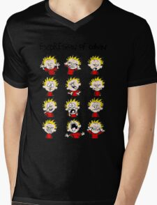 Expression of Calvin and Hobbes Mens V-Neck T-Shirt
