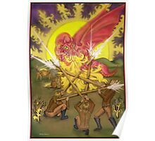 Dragon Fight - Five of Wands Tarot Poster
