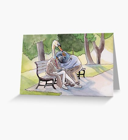 Park Life's For The Birds - Pigeon and Swan Greeting Card