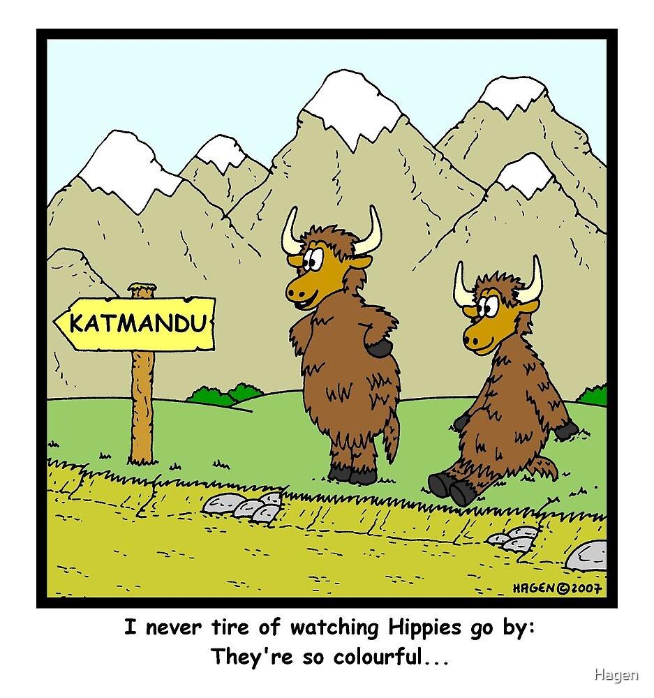Yaks watching Hippies in Tibet by Hagen