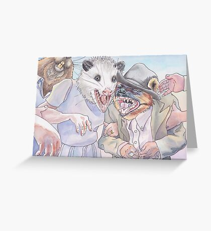 Happily Ever Laughter - Possum and Hyena Celebration Greeting Card
