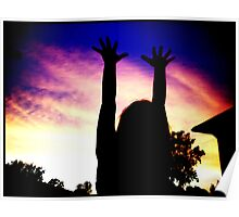 Girl Reaching For The Sky. Poster