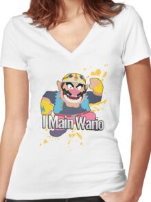 I Main Wario - Super Smash Bros. Women's Fitted V-Neck T-Shirt