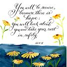There is hope yellow daisy calligraphy art  by Melissa Goza