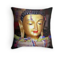 Colorful Buddha - with incense Throw Pillow