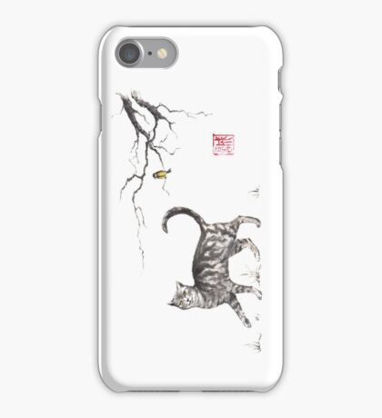 Play it cool sumi-e painting iPhone Case/Skin