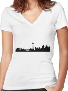 Toronto Blue Skyline Shirt Women's Fitted V-Neck T-Shirt