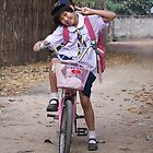 Thai schoolgirl makes a salute by fabianfred