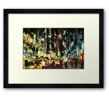 Yellow Cab, New york skyline Framed Print