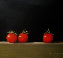 Three Tomatoes On A Shelf by max1cate