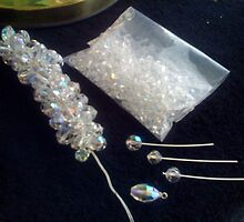 Needles and pins....making of a crystal necklace.(Quick challenge Entry) by marieangel