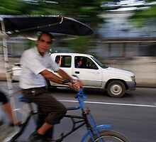 Cycle taxi motion blur, Havana, Cuba by buttonpresser