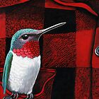 RubyThroated Hummingbird on Plaid - oil painting by LindaAppleArt