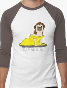 Beauty and the Pug Men's Baseball ¾ T-Shirt