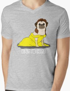 Beauty and the Pug Mens V-Neck T-Shirt