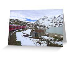 Bernina Train on the Bernina Pass..  Greeting Card