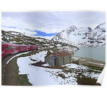 Bernina Train on the Bernina Pass..  Poster