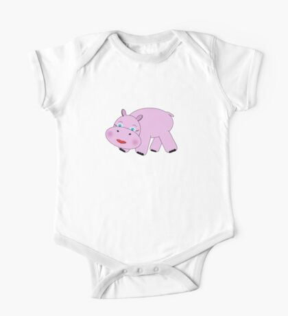 Pink Hippo One Piece - Short Sleeve