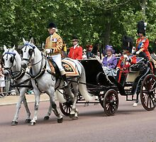 Her Majesty The Queen in a horse drawn carriage by Keith Larby