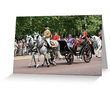 Her Majesty The Queen in a horse drawn carriage Greeting Card