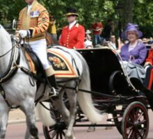 Her Majesty The Queen in a horse drawn carriage Sticker