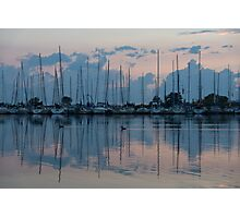 Pink and Blue Peace - Still Sailboat Reflections  Photographic Print