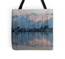 Pink and Blue Peace - Still Sailboat Reflections  Tote Bag