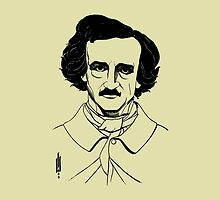 Portrait of American Author and Poet Edgar Allan Poe by Pixelchicken