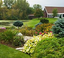 Summer Garden including lake and covered bridge by Sue Leonard