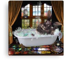 Bunny Bubble Bath Canvas Print
