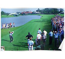 Tiger on #18 at TPC Sawgrass Poster