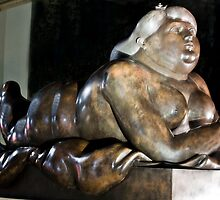 Smoking Woman by Fernando Botero, 1987 in bronze by Edvin  Milkunic